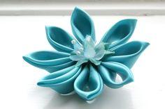 Aqua Wedding Hair Flower: Turquoise Kanzashi Wedding Fascinator - Aqua Bridal Fascinator. £16.00, via Etsy.