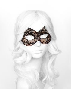 Nude & Black Lace Masquerade Mask   Lace Covered by SOFFITTA