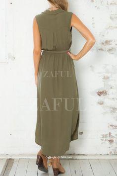 Army Green Sleeveless V Neck Split Dress ARMY GREEN: Maxi Dresses | ZAFUL