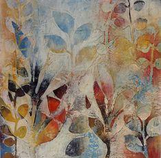Garden Fragments A: Jody Hewitt Brimhall: Encaustic Painting - Artful Home