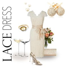 """""""Lovely Lace Dresses"""" by sassyscribe ❤ liked on Polyvore featuring Nearly Natural, La Regale, LSA International, Loushelou, Anna Sheffield and Casadei"""