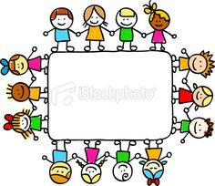 children holding hands arond empty banner cartoon illustration Royalty Free Stock Vector Art Illustration