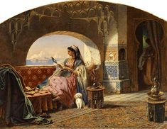 Carl Friedrich Heinrich Werner Beauty with a Tambourine, painting Authorized official website Carl Friedrich, A4 Poster, Poster Prints, Arabian Art, Tambourine, Turkish Art, Arabian Nights, Vintage Artwork, North Africa