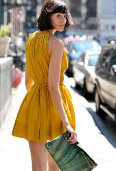 mustard yellow dress w/ turquoise | http://newfashiontrendsforgirls.blogspot.com