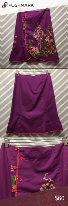 Anthropologie Odille Purple Floral Skirt Super cute purple midi skirt by Odille. Button front and zipper on side. Size 2. Shell is 97% cotton, 3% spandex. The lining is 100% Acetate. Trim is 100% silk. Dry clean only. Only flaw is a very tiny pull on top of the skirt. Anthropologie Skirts Midi