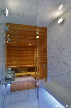 Pick the smallest bathroom in your house to turn into a sauna. Saunas are enclosed areas that allow you to reap the benefits of. Bathroom Spa, Office Bathroom, H & M Home, Home Spa, Home Steam Room, Turquoise Bathroom Accessories, Sauna Shower, Bathroom Trends