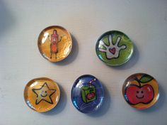 Glass Magnets / Set of 4 from the School Rocks Collection.  Great idea for end of year gifts for your childs teachers and/or daycare providers.  Found on etsy.com by LisaMarieAccessories