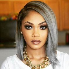 Grey Wigs For African American Women The Same As The Hairstyle In The Picture - Wigs For Black Women - Lace Front Wigs, Human Hair Wigs, African American Wigs, Short Wigs, Bob Wigs Older Women Hairstyles, Afro Hairstyles, Straight Hairstyles, Bob Hairstyle, Hairstyles 2016, Latest Hairstyles, Brunette Hairstyles, Spring Hairstyles, Wedding Hairstyles