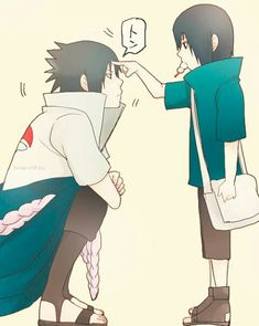 Sasuke and little Itachi. (Poor Sasuke, still poked when he's like five feet taller than Itachi) Sasuke E Itachi, Anime Naruto, Naruto Gaiden, M Anime, Sarada Uchiha, Naruto Cute, Sakura And Sasuke, Naruto Shippuden Anime, Gaara