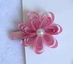 Flor de fita de Cetim ou Gorgurão - Ribbon Flower