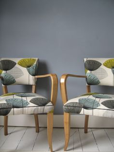 """2009"" French Bridge Chairs covered in Dandelions Sanderson fabric - by Kiki…"