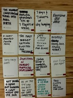 DIY your own cards against humanity or awesome and hilarious ideas for blank cards for card against humanity Diy Cards Against Humanity, Funniest Cards Against Humanity, Cards Of Humanity, Adult Game Night Party, Game Night Parties, Dry Humping, Things To Do When Bored, Funny Cards, Craft Activities