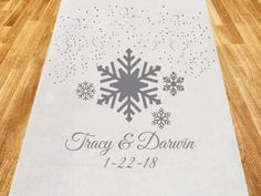 Winter Wonderland Personalized Aisle Runner (Cassiani Collection CM70039) | Buy at Wedding Favors Unlimited (https://www.weddingfavorsunlimited.com/winter_wonderland_personalized_aisle_runner.html).