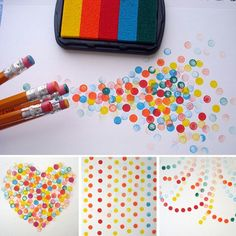 Make dots with colored ink pads and good pencil erasers as stampers. (Washable ink pads).