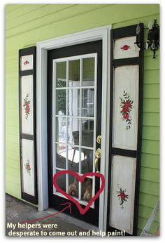 Karla's Cottage blog - sweet door treatment and green exterior paint