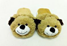 """SMALL PUPPY BROWN DOG ANIMAL SLIPPERS PILLOW PET """"PLUSH"""
