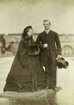 Princess Alice of the United Kingdom (Daughter of Queen Victoria), with her fiancée Prince Louis of Hesse and by Rhine,