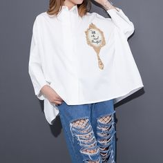 2017 Spring Summer Fashion New Mirror Letter Embroidery Shirt Korean Loose Big Size Blouse Woman Woman T38400