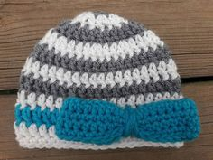 The Grace Hat Facebook.com/BarnOwlCrochet #BarnOwlCrochet #Crochet #handmade #Hat #bow #stripedbeanie