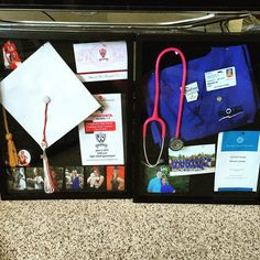 Shadow boxes Nursing Goals, Nursing Tips, Med School, High School, Lpn Schools, Nursing School Graduation, Graduation Pictures, Nurse Life, Nursing Students