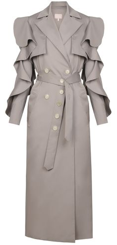 Champagne beige long trench coat with front buttons, side pockets, flounce sleeves, back slit and a belt. 55% cotton, 45% polyester Dry clean only Preorder will be shipped in ten days after the payment has been processed. Made in Georgia Model is wearing size FR36 She is 180cm, bust 81cm, waist 57cm, hips 88cm
