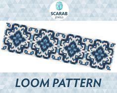 Blue Porcelain Pattern Loom Bead Bracelet / Cuff by ScarabJewels