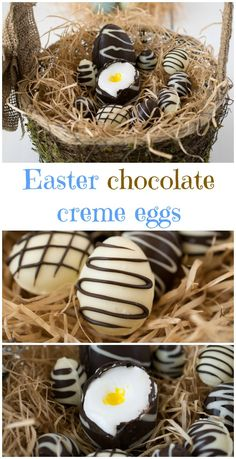 Easter chocolate creme eggs. Thin dark and white chocolate shells filled with marshmallow creme.