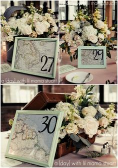 potential idea for table numbers with a travel theme?? Would use more appropriate frames and maybe use black and white pics of places in different countries that we have been to and would like to go to instead of the maps