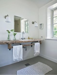 love the floating shelf and wash basin sink. i would pair it with, Hause ideen