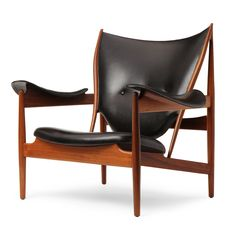 Finn Juhl // Chieftain Chair // 1950s // This rare version of the chair is often attributed to Baker, however it bears remarkable similarities to Niels Vodder's production. The distinct similarities to the cabinetmaker's construction are the low profiled hammered steel arms, and the joinery of the 'horns' shows the same Vodder 'step' joint. This chair is not stamped or documented as a Baker production, which makes it's origin subject to question.