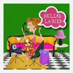 Ladies Night Out - SRF Custom Announcements Invitation Paper, Invitation Design, Party Invitations, Cocktail Party Invitation, Divorce Party, Hello Ladies, Ladies Night, Mardi Gras, Scooby Doo