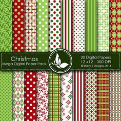 Christmas Mega Paper Pack - 20 Digital papers - 12 x12 - 300 DPI
