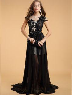 A Line  Black Cocktail Party Dress