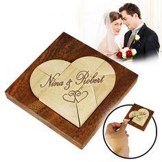 Das Mini Holz Herz Puzzle zur Hochzeit als eine ungewöhnliche Geschenkidee zur jeden Hochzeit. Eine Denkaufgabe und Legespiel in einem, dessen Ziel es ist, möglichst viele Formen und Figuren zu puzzlen!