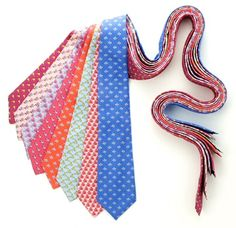 If you have to wear a tie, at least be American about it. Squiddledee Ties Made in the USA. Bright, Colorful 100% Silk Ties. Feature one-of-a-kind hues with fun, whimsical designs. Choose the perfect tie for your guy. #madeinusa #ties