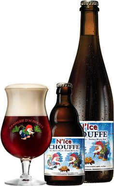 N'Ice CHOUFFE is a strong, brown beer that will warm you in the depths of winter. Spicy (thyme and curaçao) and tinged with hops, this is a very balanced beer. N'Ice CHOUFFE is an unfiltered beer which is refermented in the bottle and in barrels