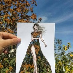 BoredPanda Fashion Illustrator Completes His Cut-Out Dresses With Clouds And Buildings by Shamekh Bluwi Croquis Fashion, Arte Fashion, Moda Fashion, Fashion Design Drawings, Fashion Sketches, Art Sketches, Art Drawings, Fashion Drawing Dresses, Fashion Figures