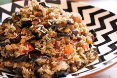 Patlicani pilau (aubergine pilau)