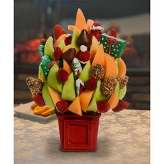 Holly Jolly Merry Clause Blossom scent free fruit bouquet are great for all occasions and make great gifts ideas or decorations from a proud Canadian Company Christmas Arrangements, Fruit Arrangements, Free Fruit, Merry Christmas, Great Gifts, Strawberry, Bouquet, Decorations, Spaces