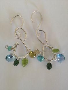 Etsy Jewelry Gold/Green Tourmaline Peridot London Blue by Lilyb444, $80.00 #teamdream