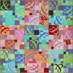 "EJ023 Ampersand Quilt Finished Size: 170cms x 170cms (66 x 66)  This modern quilt features raw edge appliqué and easy piecing. Either use on a bed or as a couch throw, this stunning fun quilt will brighten up any room. Perspex Ampersands templates available seperately from Creative Abundance.  ** Please Note** This Pattern has an A3 pattern page, please purchase only if you can print this size paper.  FABRIC REQUIREMENTS: (based on 42"" wide fabric) • 27 Metric Fat Quarters or 25cms (10'') 12…"
