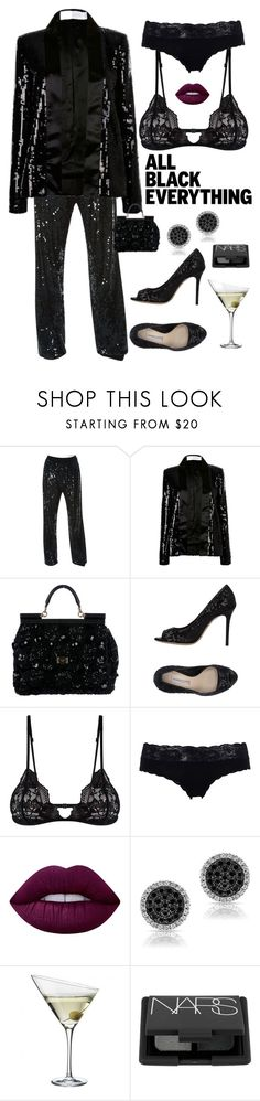 """Friday Night in all Black"" by kotnourka ❤ liked on Polyvore featuring Lanvin, Victoria, Victoria Beckham, Dolce&Gabbana, Roberto Festa, Mosmann, Cosabella, Lime Crime, Eva Solo, NARS Cosmetics and allblackoutfit"