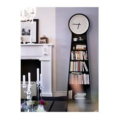 """IKEA PS PENDEL Floor clock IKEA. 22""""W x 6.75""""D x 78""""H.  Between dresser and twin bed, maybe, for storage? Very shallow profile."""