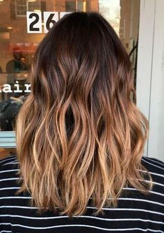 Balayage Dark Brown Hair, Ombre On Brown Hair, Brown Hair With Blonde Ends, Dark Brown To Light Brown Ombre, Full Balayage, Brown Balyage, Brown With Caramel Highlights, Straight Ombre Hair, Brown Hombre Hair