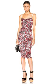 Image 1 of Victoria Beckham Piquet Stretch Cami Dress in Pink Floral Print & White
