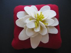 Ring Bearer Pillow Wedding Ivory Yellow Red water lily flower choose your colors #ringbearerpillow by ArtisanFeltStudio, $46.00