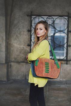 9b584e8b57 Multicolor smaller Leather handmade Shoulder Bag with Clutch Vintage  Leather