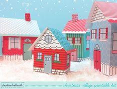 christmas village - favor boxes, luminaries, printable PDF kit - INSTANT download. $5.99, via Etsy.