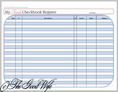 Us Half Page Printable Checkbook Register By Myunclutteredlife