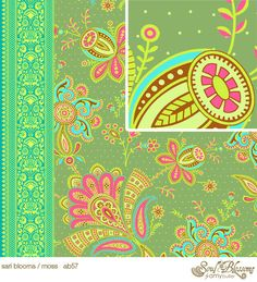 Amy Butler Fabric Sari Blooms Moss from Soul by imaginefabric,